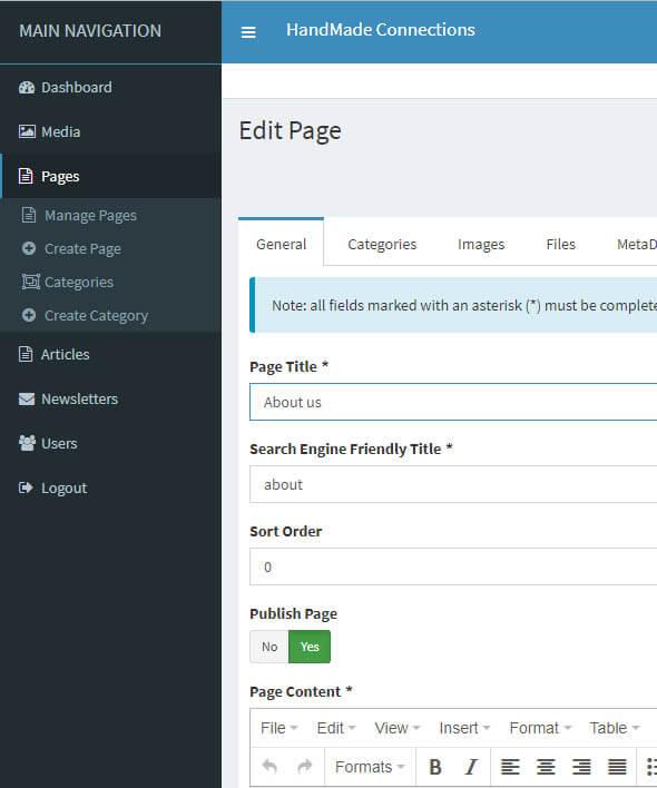 HandMade CMS - custom website Content Management System